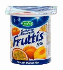 Продукт йогуртный пастер Fruttis Сливочное лакомство 5% персик/маракуя/ананас/дыня 115г