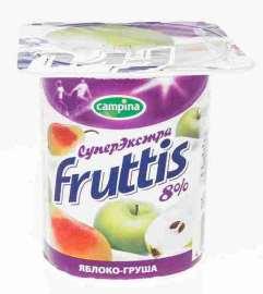 Продукт йогуртный пастер Fruttis СуперЭкстра клубника/яблоко/груша 8% 115г пл/в
