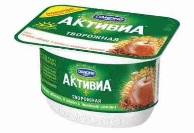 Биопродукт творож-йогуртный Активиа печеное яблоко/льняные семена 4,2% 130г