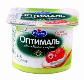 Йогурт Оптималь клюква/земляника 2% 120г п/ст