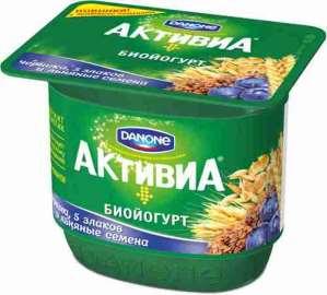 Биойогурт Danone Активиа обогащенный черника-льняные семена 2,9% 150г