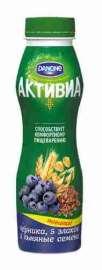 Биойогурт питьевой Активиа обогащенный черника/злаки/семена льна 2,1% 290г п/б