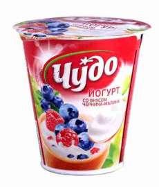 Йогурт Чудо фруктовый  со вкусом Черника-Малина 2,5% 290г