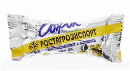 Сырок глазир Ростагроэкспорт ваниль 26% 45г фольга