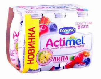 Продукт к/мол Danone Actimel лесные ягоды с липой 2,5% 100г