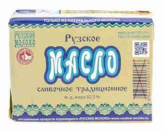 Масло сладко-сливочное Рузское 82,5% 175г фольга