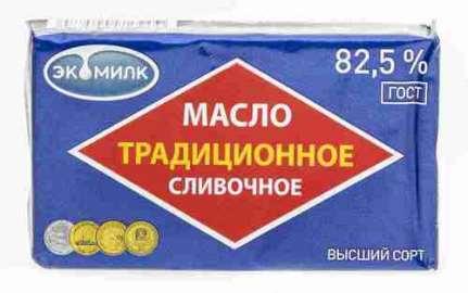 Масло сливочное Экомилк Традиционное 82,5% 180г фольга
