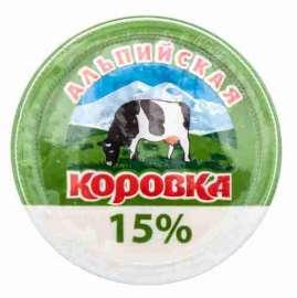 Продукт сметанный Альпийская коровка 15% 200г